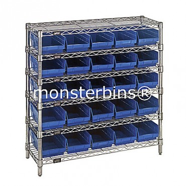 Wire Shelving Unit with 6 Shelves and 25 Shelf Bins (12x6x4)