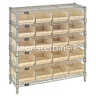 Wire Shelving Unit with 6 Shelves and 20 Shelf Bins (12x8x4)