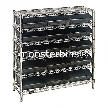 Wire Shelving Unit with 6 Shelves and 15 Shelf Bins (12x11x4)