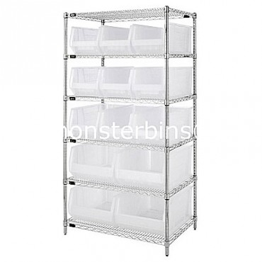 Wire Shelving Unit with 6 Shelves and 9 QUS953, 4 QUS954 Clear Bins