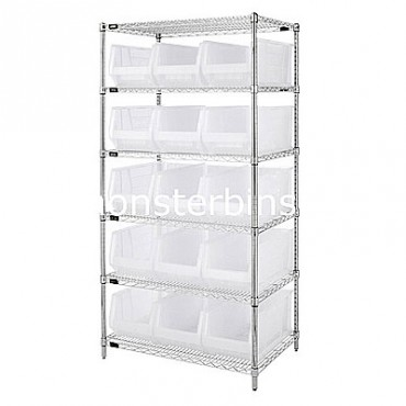 Wire Shelving Unit with 6 Shelves and 15 QUS953 Clear Bins