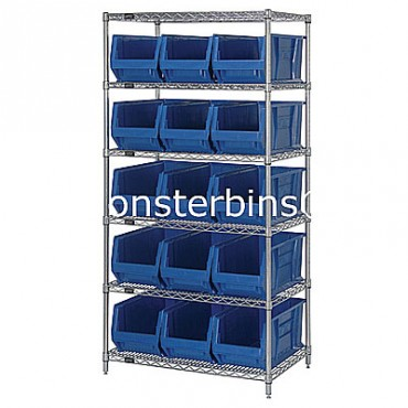 Wire Shelving Unit with 6 Shelves and 15 QUS953 Bins
