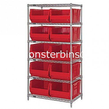 Wire Shelving Unit with 6 Shelves and 10 QUS954 Bins
