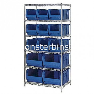 Wire Shelving Unit with 6 Shelves and 9 QUS973, 4 QUS974 Bins