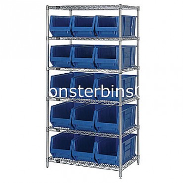 Wire Shelving Unit with 6 Shelves and 15 QUS973 Bins
