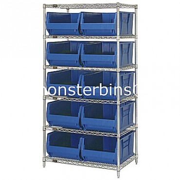 Wire Shelving Unit with 6 Shelves and 10 QUS974 Bins
