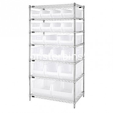 Wire Shelving Unit with 7 Shelves and 8 QUS950, 3 QUS952, 4 QUS951, 3 QUS953, 2 QUS954 Clear Bins