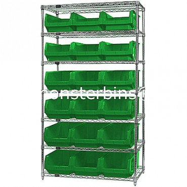 Wire Shelving Unit with 7 Shelves and 18 QMS532 Bins