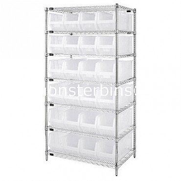 Wire Shelving Unit with 7 Shelves and 24 QUS951 Clear Bins