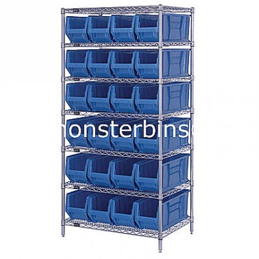 Wire Shelving Unit with 7 Shelves and 24 QUS951 Bins