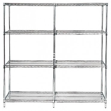 "Wire Shelving Add-On Unit - 74"" High - 4 Shelves - 12x36"