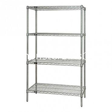 "Wire Shelving Unit - 63"" High - 4 Shelves - 12x42"