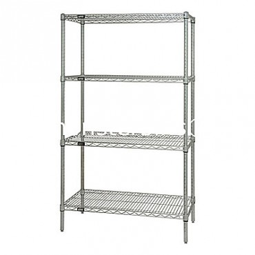 "Wire Shelving Unit - 74"" High - 4 Shelves - 12x36"