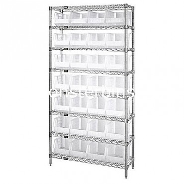 Wire Shelving Unit with 8 Shelves and 28 QUS239 Clear Bins