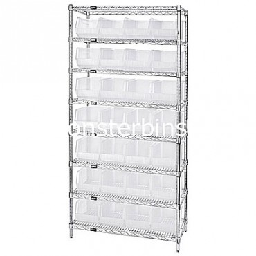 Wire Shelving Unit with 8 Shelves and 28 QUS240 Clear Bins