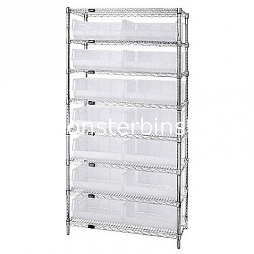 Wire Shelving Unit with 8 Shelves and 15 QUS250 Clear Bins