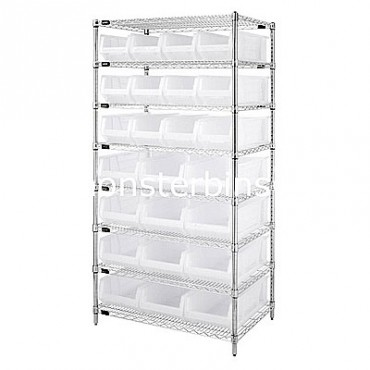 Wire Shelving Unit with 8 Shelves and 12 QUS950, 12 QUS952 Clear Bins