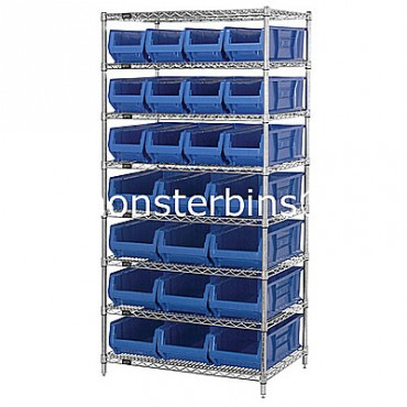 Wire Shelving Unit with 8 Shelves and 12 QUS950, 12 QUS952 Bins