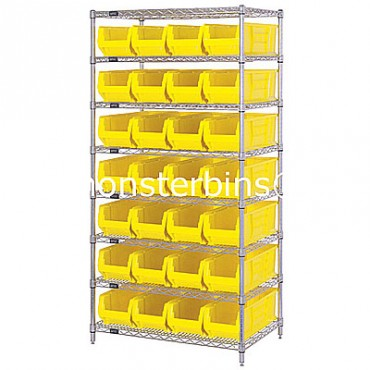 Wire Shelving Unit with 8 Shelves and 28 QUS950 Bins