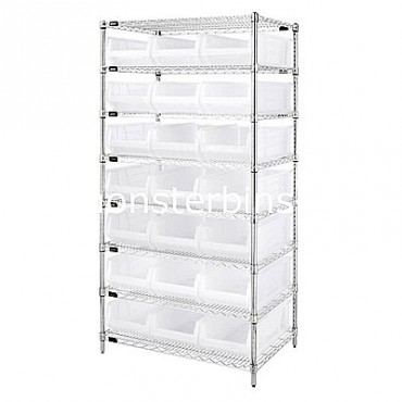 Wire Shelving Unit with 8 Shelves and 21 QUS952 Clear Bins