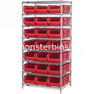 Wire Shelving Unit with 8 Shelves and 21 QUS952 Bins