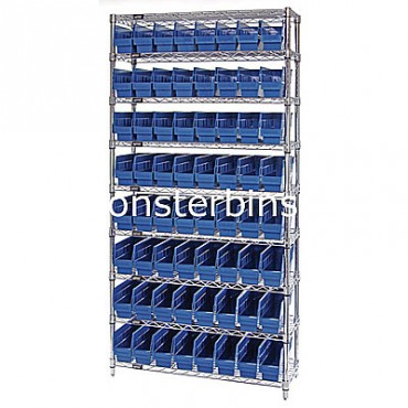 Wire Shelving Unit with 9 Shelves and 64 Shelf Bins (12x4x6)