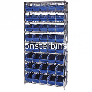 Wire Shelving Unit with 9 Shelves and 40 Shelf Bins (12x6x6)