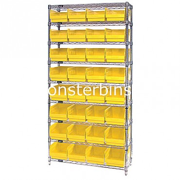 Wire Shelving Unit with 9 Shelves and 32 Shelf Bins (12x8x6)