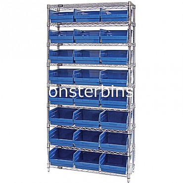 Wire Shelving Unit with 9 Shelves and 24 Shelf Bins (12x11x6)