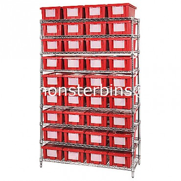 Wire Shelving Unit - 9 Shelves - 18x36x74 - 36 SNT180