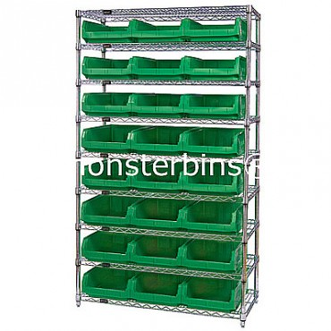 Wire Shelving Unit with 9 Shelves and 24 QMS531 Bins