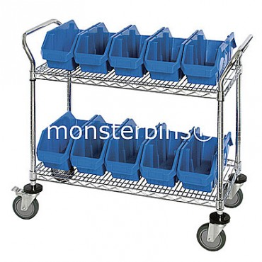 Mobile Wire Cart - 2 Shelves - 8 MQP1285