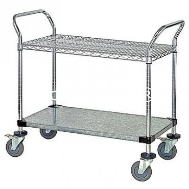 Wire Utility Cart - 1 Wire/1 Solid Shelf - 24x36x38