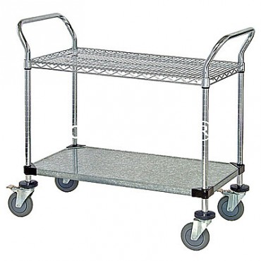 Wire Utility Cart - 1 Wire/1 Solid Shelf - 24x48x38