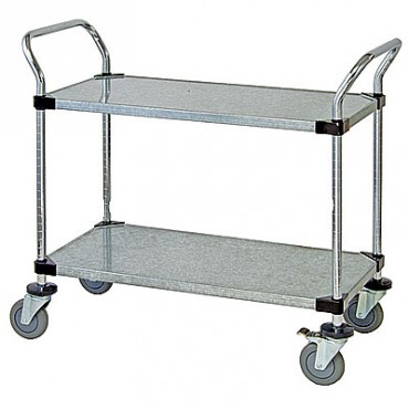 Wire Utility Cart - 2 Solid Shelves - 18x36x38