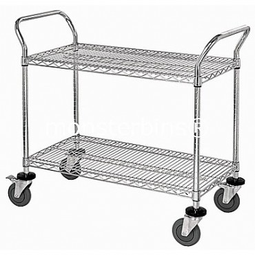 Wire Utility Cart - 2 Wire Shelves - 24x48x38