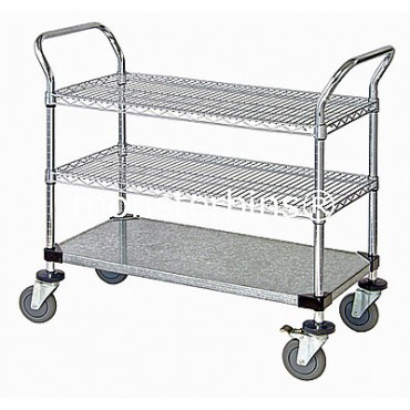 Wire Utility Cart - 2 Wire/1 Solid Shelf - 18x48x38