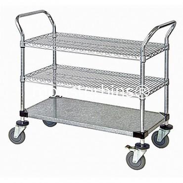 Wire Utility Cart - 2 Wire/1 Solid Shelf - 24x48x38