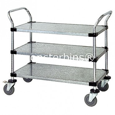 Wire Utility Cart - 3 Solid Shelves - 18x48x38
