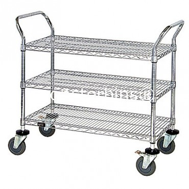 Wire Utility Cart - 3 Wire Shelves - 24x48x38