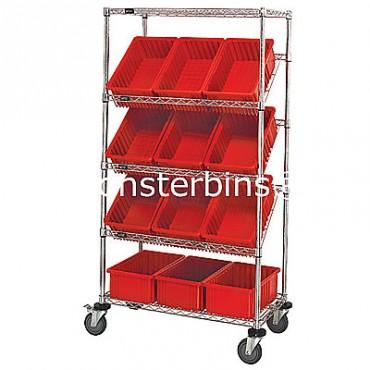 Mobile Slanted Wire Shelving Unit - 5 Shelves - 18x36x63 - 12 DG92080