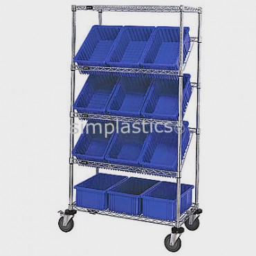 Mobile Slanted Wire Shelving Unit - 5 Shelves - 18x36x63 - 12 DG92060