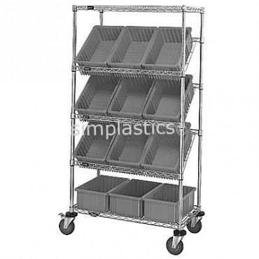 Mobile Slanted Wire Shelving Unit - 5 Shelves - 18x36x63 - 12 DG92080