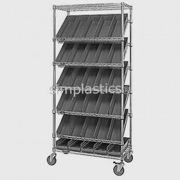 Mobile Slanted Wire Shelving Unit - 7 Shelves - 18x36x74 - 30 MSB104