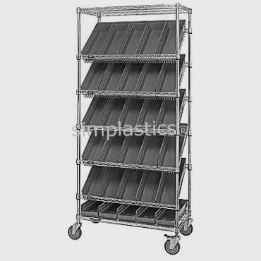 Mobile Slanted Wire Shelving Unit - 7 Shelves - 18x36x74 - 18 MSB110