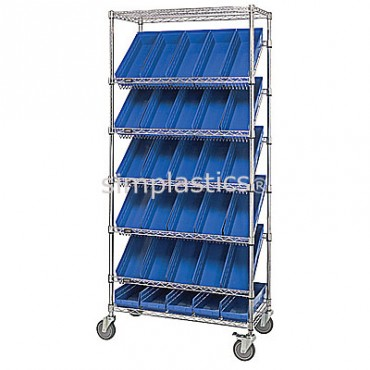 Slanted Wire Shelving Unit - 7 Shelves - 18x36x74 - 48 MSB103