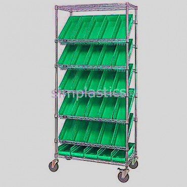 Mobile Slanted Wire Shelving Unit - 7 Shelves - 18x36x74 - 48 MSB103