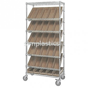 Mobile Slanted Wire Shelving Unit - 7 Shelves - 18x36x74 - 30 MSB104