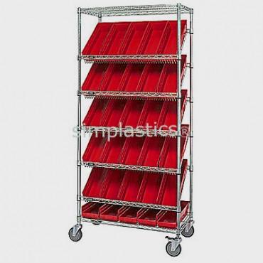 Mobile Slanted Wire Shelving Unit - 7 Shelves - 18x36x74 - 48 MSB103