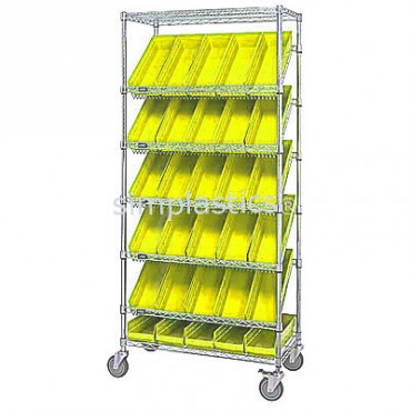 Mobile Slanted Wire Shelving Unit - 7 Shelves - 18x36x74 - 24 MSB108